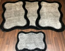 ROMANY GYPSY WASHABLES NEW SET OF 4 MATS X LARGE SIZE 100X140CM BLACK/SILVER
